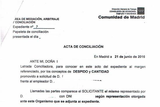 Acta de conciliación administrativa