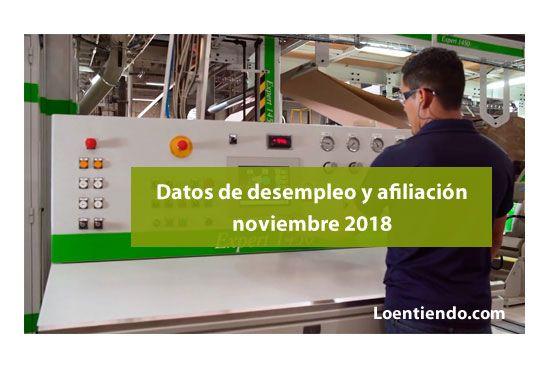 Datos paro y afiliación noviembre 2018