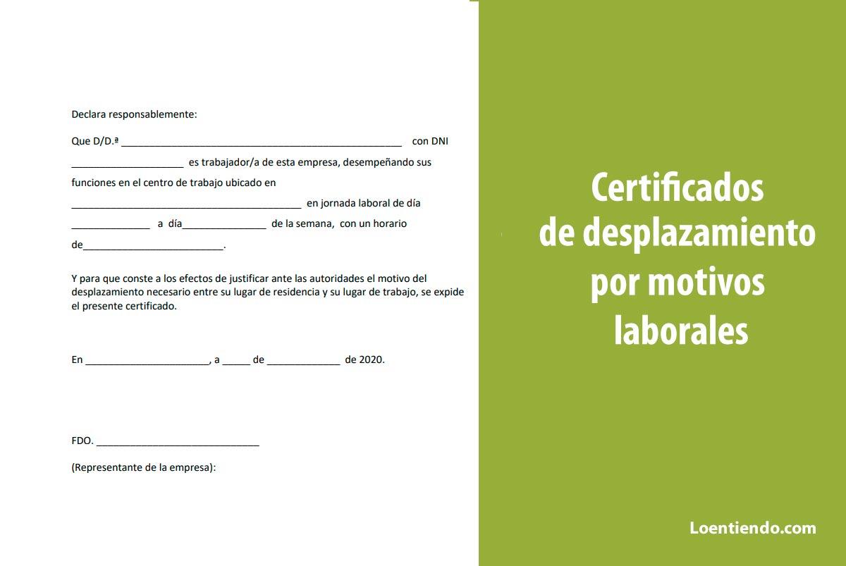 Modelos. Certificados para autorización de desplazamiento para ir a trabajar