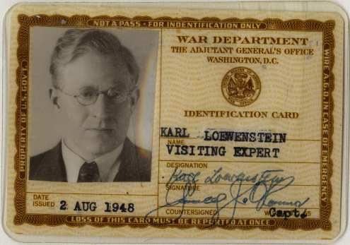 Loewenstein's War Department pass, issued August 2, 1948