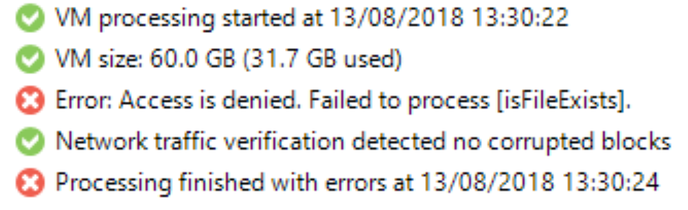 "Veeam VeeamZip ""Failed to process [isFileExists]"" error when backing up Hyper-V"