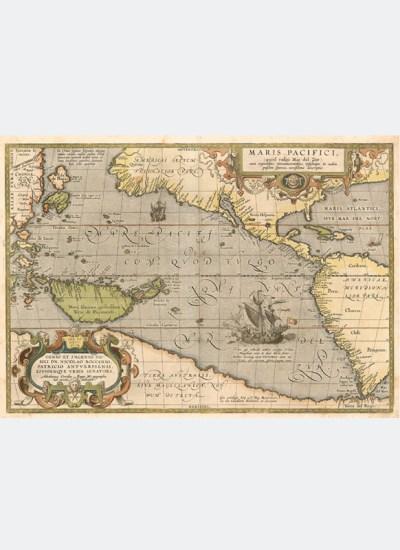 Pierwsza drukowana mapa Pacyfiku (1589)