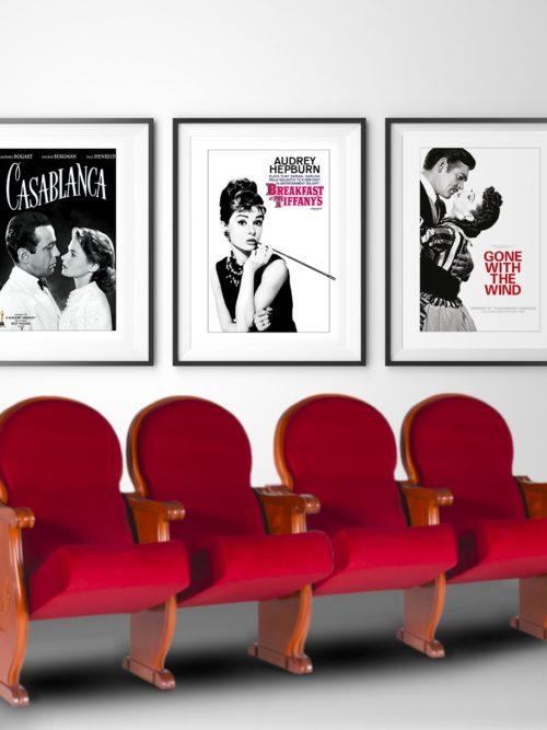Plakaty filmowe retro w ramach Plakaty filmowe z kina retro Śniadanie u Tiffaniego, Cassablanka i Przemineło z wiatrem. Zestaw 3 plakatów.