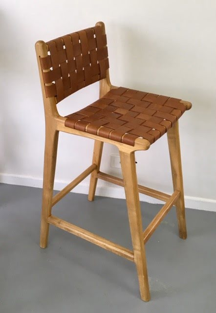 Loft Woven Leather Bar Stool With Back Rest Brown Loft
