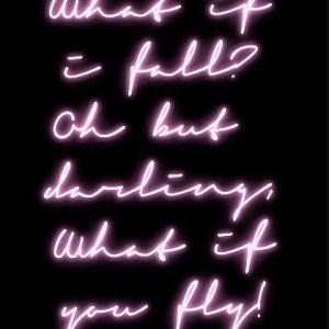 What if I fall neon art print