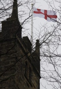 The York Diocesan Flag (purchased especially for the Chrism Mass) flies from St Leonard's Church Tower.