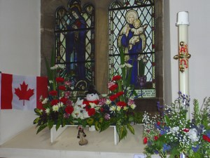 In the Nave Commonwealth Nations were represented in flowers.  Here is Canada.