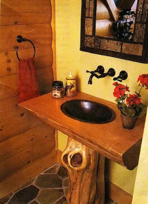 log home pedestal sink shaped like a