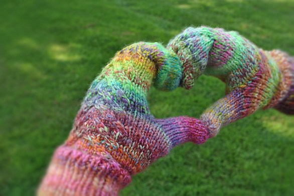 I spun this yarn on my drop spindle, then knitted them up into some awesome mittens!