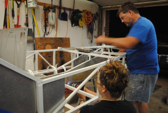 Progress on the Lotus...we're gluing and riveting the panels onto the frame. It's looking pretty snazzy.