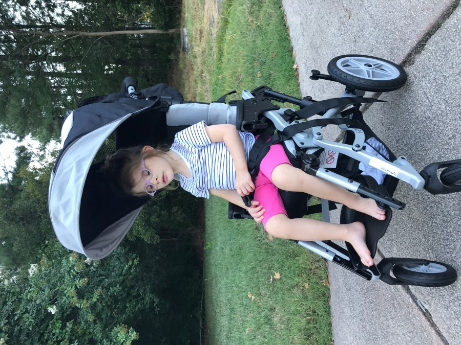 logan in her new stroller