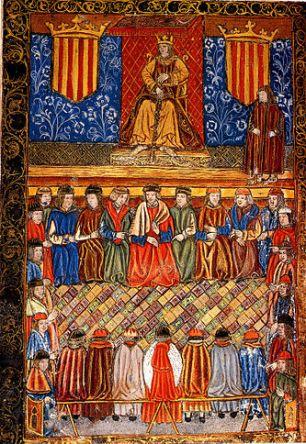 Fernando_II_entre_dos_escudos_del_Señal_Real_de_Aragón