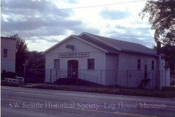 This building at 4857 Delridge Way now houses the Disabled American Veterans Association.   Originally built in 1914 by neighborhood members, the Youngstown Improvement Club was formed to create a meeting place where residents could plan the future of the community. Circa 1970's.