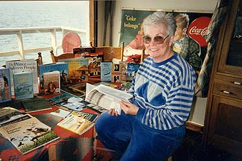 Carol Vincent and traveling trunk materials