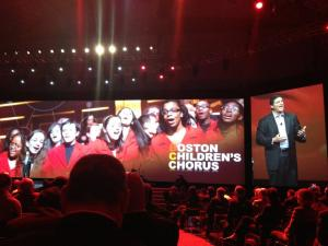 Bruce introducing the Boston Children's Chorus. Photo courtesy @Cisco_Channels.