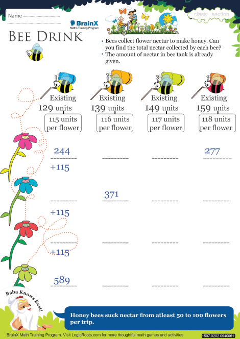 Bee Drink Math Worksheet For Grade 2 Free Amp Printable