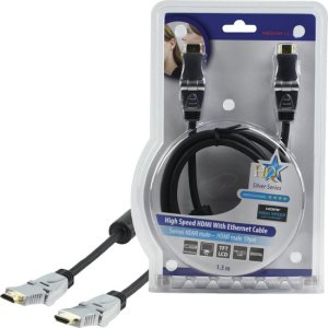 HQ HQSS5564-1.5 High Speed HDMI kabel met Ethernet HDMI-Connector – HDMI-Connector Draaibaar 1.50 m Donkergrijs