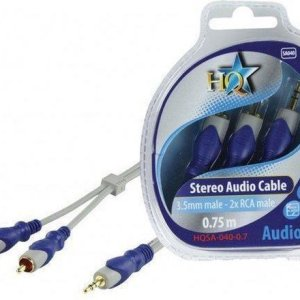 HQ, Standard 3.5mm Stereo Male – 2x RCA Male Kabel 0,75m