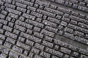 Upside Down Words on a Printing Press