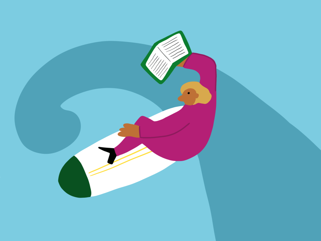 Illustration of a person reading a book on a surfboard