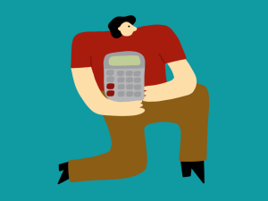 Illustration of person holding a calculator
