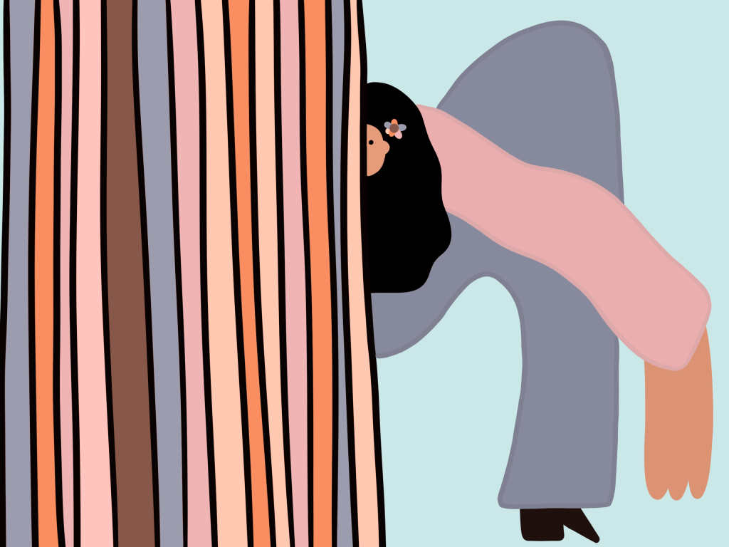 """Illustration of a """"Conversion"""", Person half obscured by multi-colored vertical lines."""