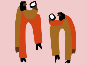Illustration of two people using iPhones