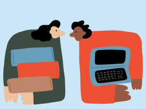 Illustration of two people, one holding a stack of books, and one holding a laptop