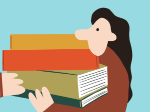 Illustration of a person carrying a stack of books