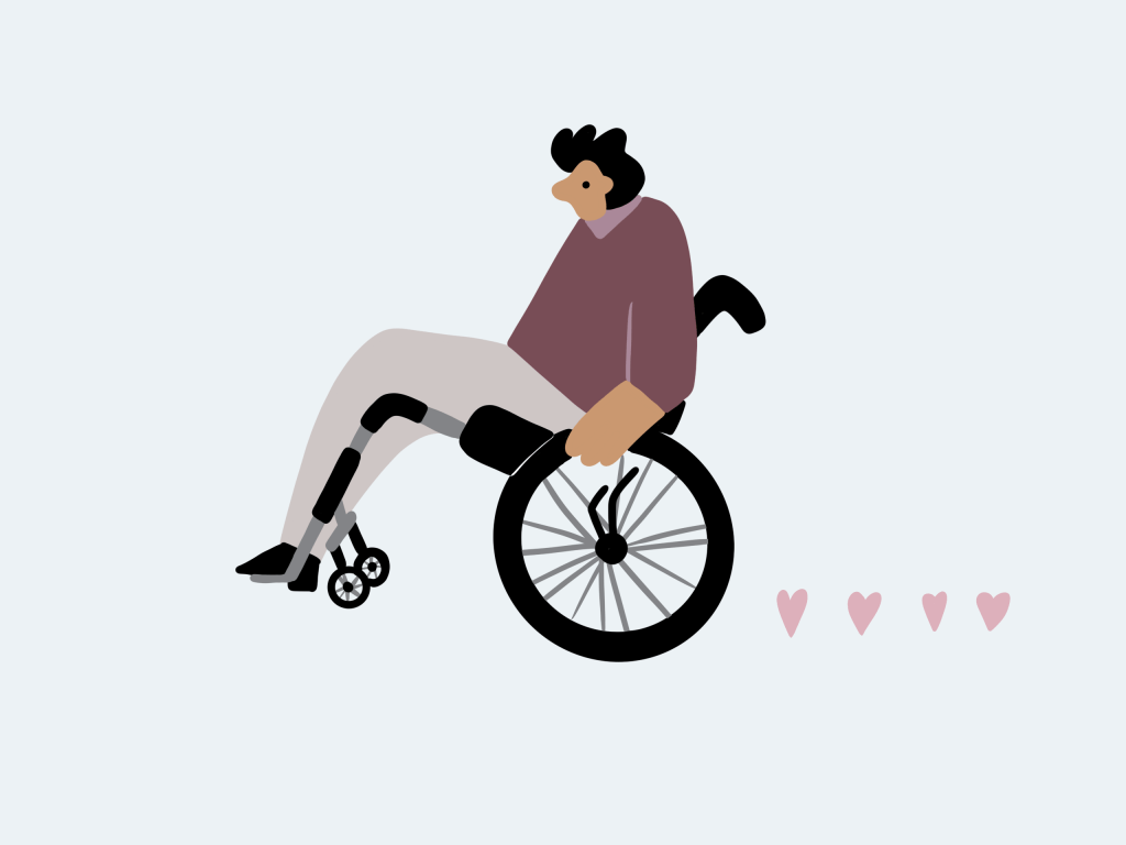 illustration of a person in a wheel chair with hearts trailing them