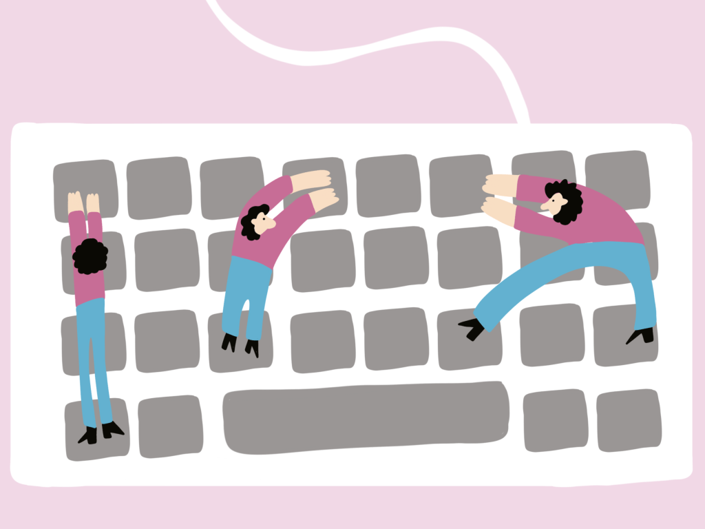 Illustration of people standing on a keyboard
