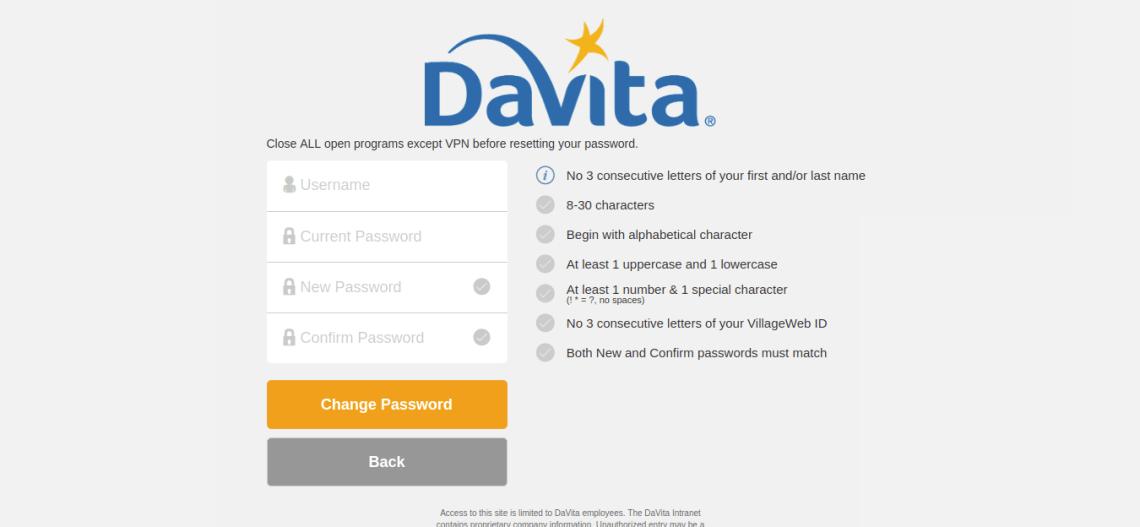 Change Password DaVita Village Login Service