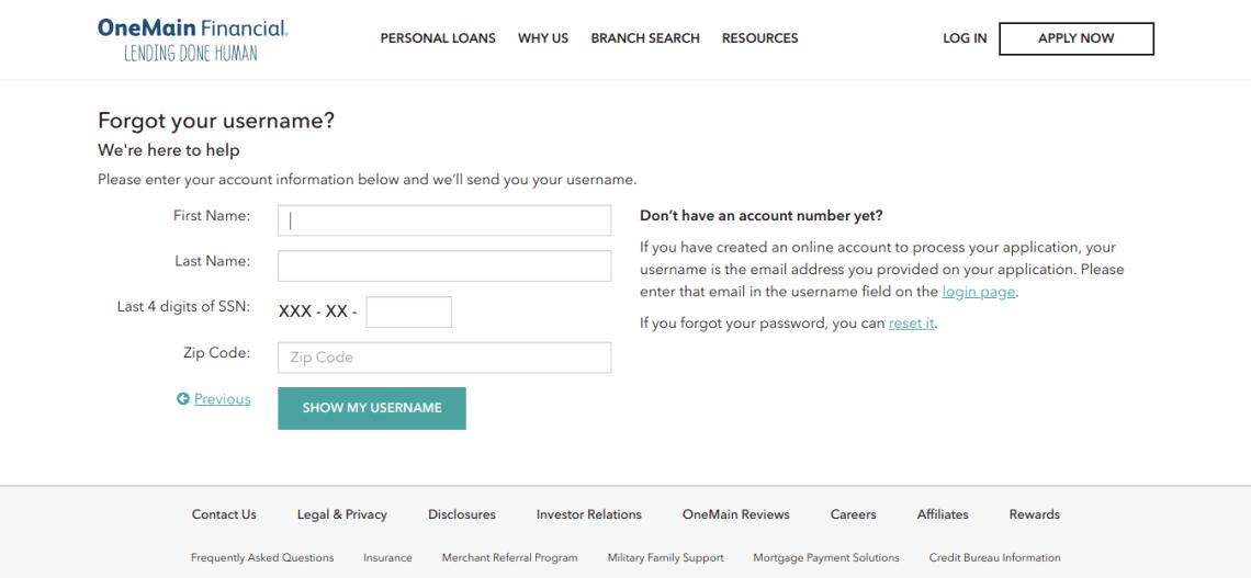 OneMain Financial Forgot