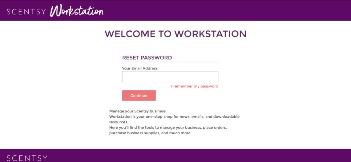 Scentsy Workstation forgot password