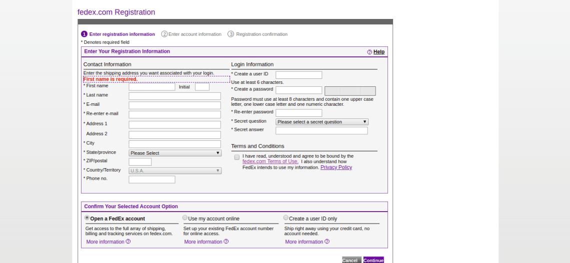 fedex com Registration