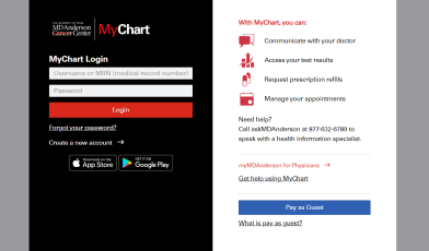 MD Anderson MyChart Account login
