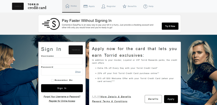 Torrid credit card Login Portal