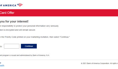 bank of america credit offer apply