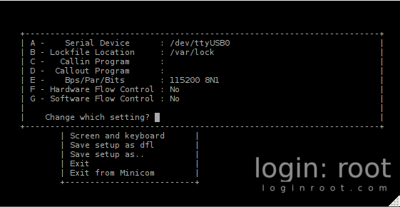 how to use minicom to connect to serial port