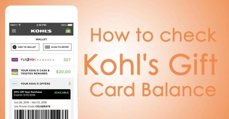 Check Kohl's Gift Card Balance Online