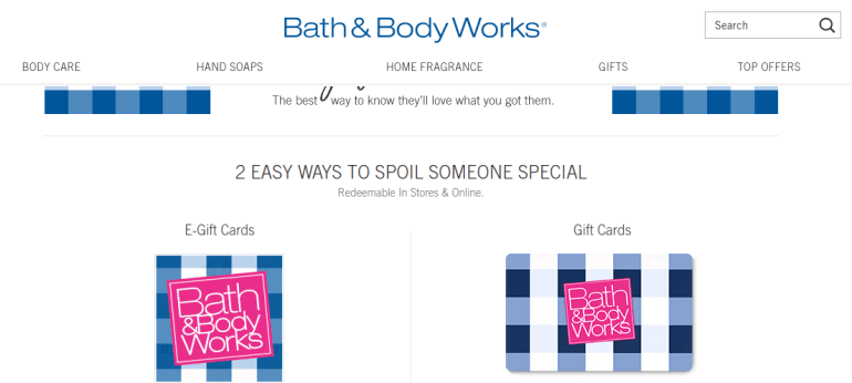 Bath & Body Works Gift Card Balance