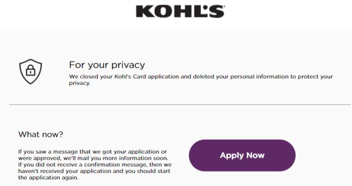 Kohls credit card apply
