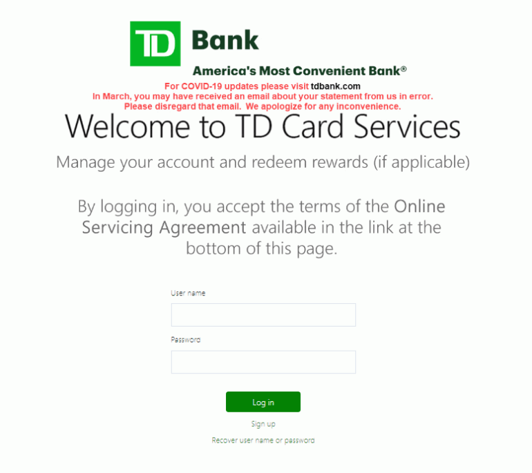 TD Credit Card Account Login | logintips.net