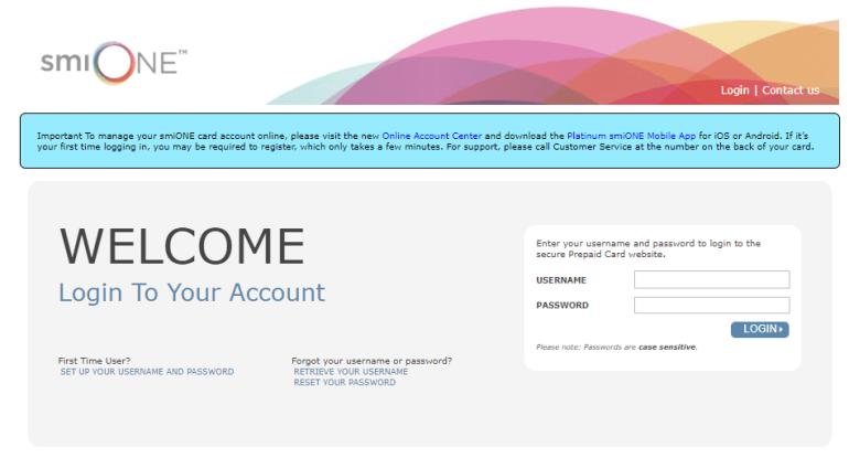 smiONE debit card login