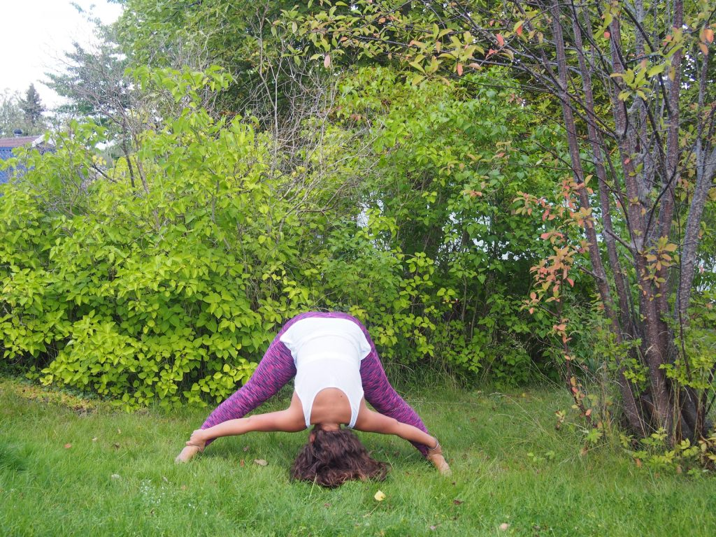 Wide Legged Forward Bend, Prasarita Padottanasana, third eye chakra, yoga for third eye, yoga for intuition