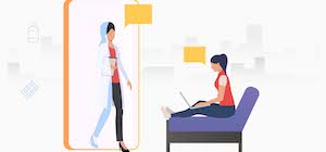 Virtual medical consultation between female doctor and patient