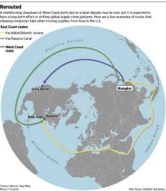 Global Trade Routes  (Wall Street Journal: Maersk, Yang Ming Marine Transport)