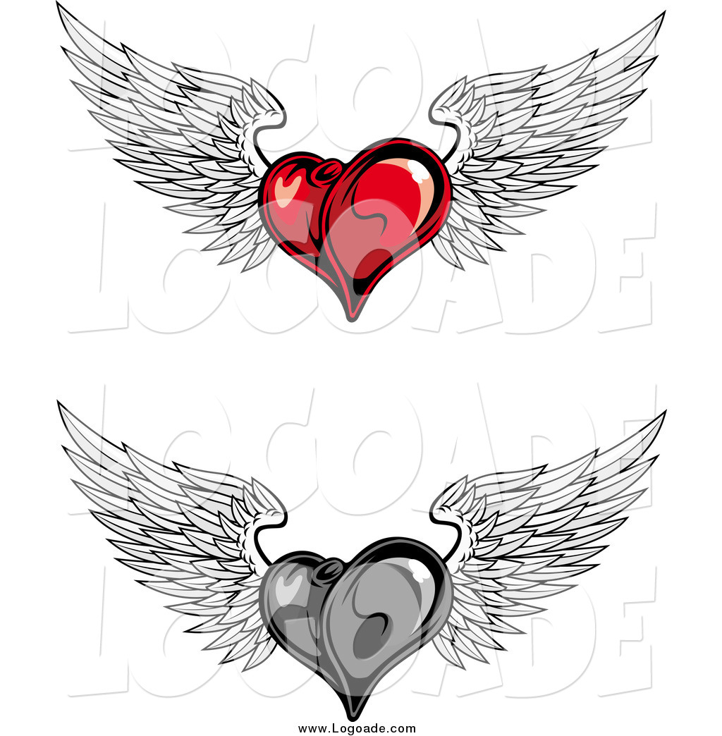 Clipart Of Red And Grayscale Flying Winged Heart Logos By