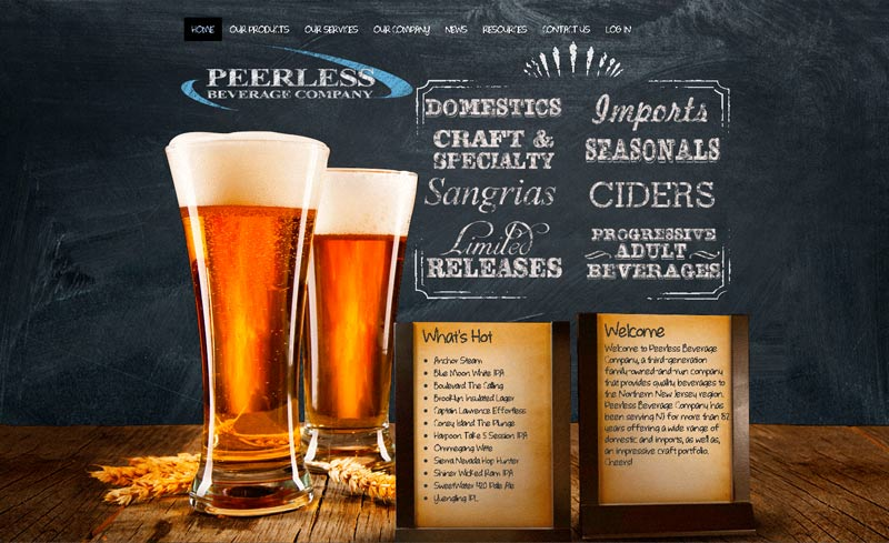 peerless beverage website design