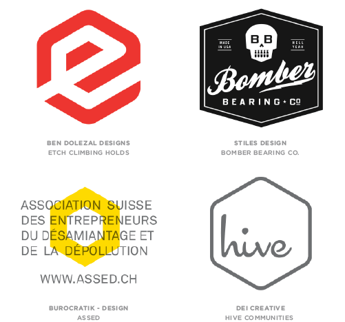Hexagons trend logo examples